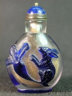 Chinese Rabbit Radish Carved Peking Overlay Glass Snuff Bottle