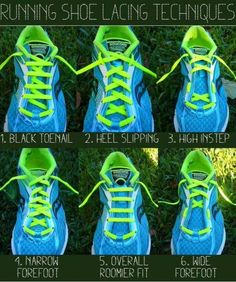 Did you know there's a right way to lace your tennis shoes for your foot type? Neither did I, but I'm planning on trying out #5 and #6 to see if they make a difference on my wide feet.
