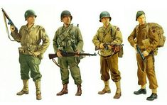Allied soldiers of European theater (ETO, 1944) including a Ranger with a M1 carbine, the other with M1 Garand, Thompson M1928A1 .45 cal and a British commando with Sten.