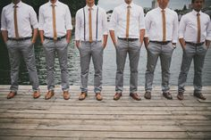 Groomsmen - grey pants but with pink ties - no jackets! Grey Pants Brown Shoes, White Shirt Grey Pants, Grey Slacks, Grey Trousers, Blue Pants, White Shirts, Black Shoes, Casual Groomsmen Attire, Groomsmen Grey