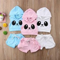 Manda Panda girls boys neutral hooded sets 2 piece light weight, tank top set with panda bear print, drawstring pant, and Girls Fashion Clothes, Toddler Fashion, Toddler Outfits, Baby Outfits, Cute Outfits, Boy Clothing, Clothing Sites, Unisex Fashion, Boy Fashion