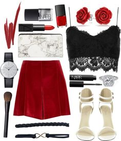 """""""CNY Look: Suede Red w/ Lace & Marble"""" by jacqueen on Polyvore"""