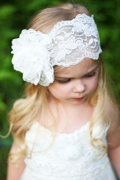White Lace Rose Headband by BowSweet *Pin now, view later!
