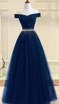 tulle prom gown,off shoulder prom dresses,long prom dress,a line evening dress DS207 #navy #offshoulder #beads #aline #prom #okdresses