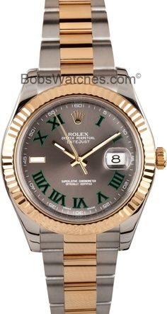 Rolex DateJust 41MM - Stainless Steel with 18k Yellow Gold Fluted Bezel and Slate Dial