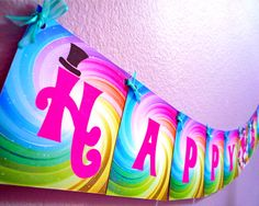 Willy Wonka Party, Candy Party - PRINTABLE BIRTHDAY BANNER - Cutie Putti Paperie. $7.50, via Etsy.