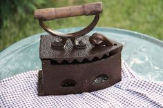 Antique Coal Iron with Wood Handle by sweetserendipityvint on Etsy, $27.00