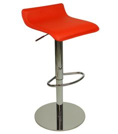 Baconey Quality Kitchen Breakfast Bar Stool Red Padded Seat Height Adjustable Chrome Frame Weighted Base