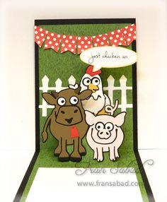 Fran Sabad using the Pop it Ups Lots of Pops, Brownie the Cow, Cheepers the Chicken and Virgil the Pig die sets by Karen Burniston for Elizabeth Craft Designs. - PIU Barn 01 detail