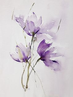 """""""wilted tulips"""" Art Prints by annemiek groenhout Watercolor Cards, Abstract Watercolor, Watercolour Painting, Watercolor Flowers, Watercolors, Watercolor Paintings For Sale, Painting Abstract, Watercolor Landscape, Acrylic Paintings"""