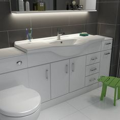 Sienna White 1200 Vanity Unit & Basin with Waste now only from Victoria Plumb Bathroom Furniture, Bathroom Ideas, Bathroom Designs, Black White Bathrooms, Small Bathrooms, Basin Unit, Vanity Basin, Family Bathroom, Vanity Units
