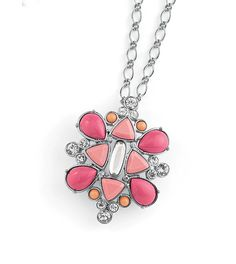 """SHERBET Lia Sophia necklace adjustable 32-35"""" - this sugar-coated pop of creamy color can be warn as both a necklace or a brooch!  Pink and coral resin gems accented with cut crystals are set in a chic cluster. When removed from the chain, has a pinback to add to your shirt collar, bag, cardigan etc. Reg $98"""