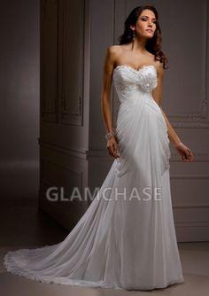Ruched Sleeveless Lace-up Ivory Sheath Sweetheart Chapel Train Dresses