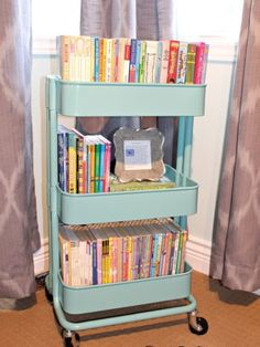 Storage Ideas : The Best Little Cart Ever and how to use it in EVERY room in your home - This photos shows it in a kids / girls room as a way to organize kids books - Kylie M Interiors