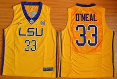 Men's LSU Tigers #33 Shaquille O'Neal Gold College Basketball Jersey