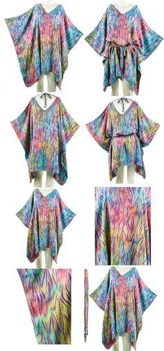 68d1d1e611 Floral Batik Kaftan Hippie Women Caftan Tunic Top Waist Belt Rayon Cover up Plus  Size 1x 2x