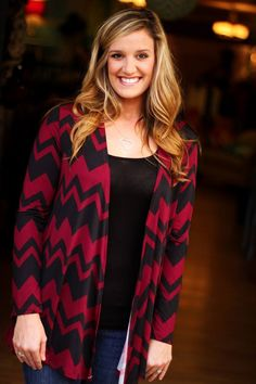 """""""Carrie"""" Cardigan shown in Black/Burgundy. $29.99.  Also available in Olive/Ivory.  S, M, L, XL, 2X, 3X. To order, please call (864) 366-WEST. Shipping $5."""