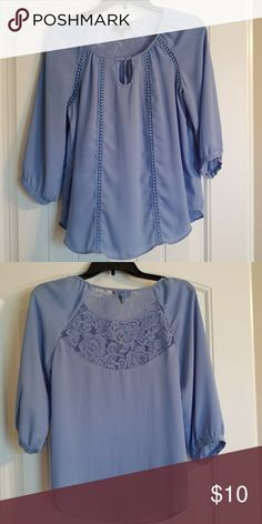 Sheer blouse with lace back. Size small Great deal! So pretty and stylish!!! This is a beautiful piece you can wear anywhere, school, work, office, interview, party, or casual! Feel free to make an offer Iz Byer Tops Blouses