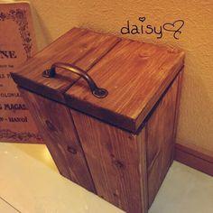 ゴミ箱 アンティーク風 木製 無垢材 ダストボックス|その他インテリア雑貨|daisy♡|ハンドメイド通販・販売のCreema