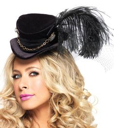 27b2da36d7443 Leg Avenue Steampunk Top Hat With Chain And Feather Accent
