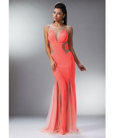 Neon Pink Paneled Mesh Fitted Long Dress #uniqueprom