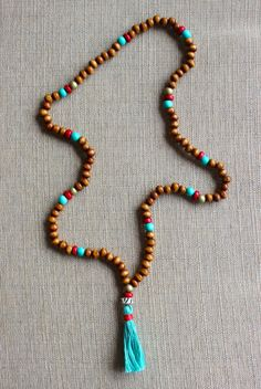 Native Turquoise Beaded Tassel Necklace by shopjustpeachy on Etsy, $22.00