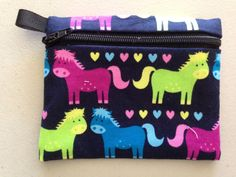Neon Horses Zipper Coin Purse Credit Card Earbud by NancyPKdesigns