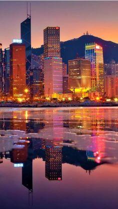 Hong Kong at Sunset... Beauty ! Come visit Hong Kong! http://Www.ovolohotels.com #ovolo #hotel #hongkong #hk #beautiful #city #sunset #red #reflection #harbour