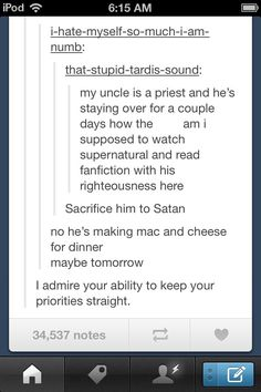 No, he's making Mac and Cheese for dinner. Maybe tomorrow.<<<I know right how can I draw SPN signs in my NB without my teacher questioning me My Tumblr, Tumblr Funny, Funny Quotes, Funny Memes, Hilarious, Lol, Bitch, Maybe Tomorrow, Supernatural Fandom
