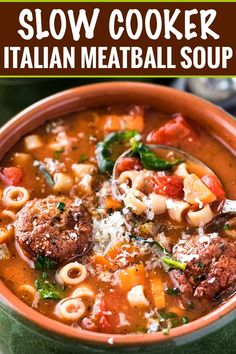 This Slow Cooker Italian Meatball Soup is hearty, easy, and incredibly satisfying! You'll never guess it's only 4 smart points per serving. Italian Meatball Soup, Italian Meatballs, Chicken Meatball Soup, Meatball And Tortellini Soup Recipe, Meatball Recipes, Goulash, Slow Cooker Soup, Slow Cooker Recipes, Crockpot Meals