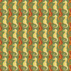 Seahorses - Olive fabric by siya on Spoonflower - custom fabric