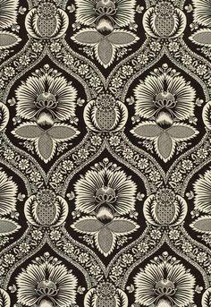 Schumacher Villandry Damask Print Charcoal - Lynn Chalk
