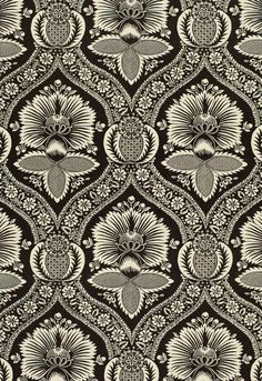 Fabric | Schumacher - Villandry Damask Print - Charcoal