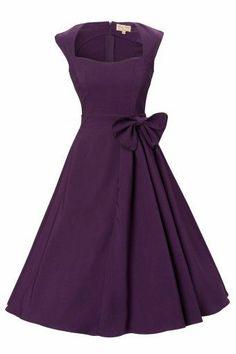 Das1950\'s Grace Purple Bow vintage style swing party rockabilly Abendkleidder Marke Lindy Bopist ein wunderschönes classy Swing-Kleid mit verspielten Akzenten! Inspiriert von Grace Kelly\'s elegantem Stil der 50er Jahre.Die weite semi sweetheart Halslinie und die Kapärmel sind geschmückt mit schönen schwarzen Blenden. Mit schöner großer extra gefalteter Schleife und weitauslaufendem vollem Tellerrock...