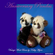 This is a special request panda pair for an Anniversary celebration. The male panda has the husband's hazel eyes and the female panda has the wife's honey brown eyes.