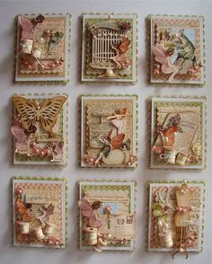 Fairies in Springtime Atc Cards, Card Tags, Journal Cards, Junk Journal, Handmade Tags, Handmade Birthday Cards, Art Trading Cards, Candy Cards, Pocket Letters