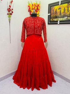 Order #ZC8814 Georget with Embroidery work with Koti₹2070 on WhatsApp number +919619659727 or ArtistryC.in Dresses With Sleeves, Gowns, Formal Dresses, Long Sleeve, Red, Designer Dresses, Fashion, Vestidos, Dresses For Formal