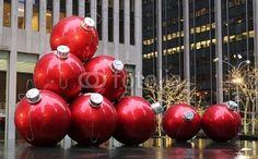 Huge Christmas Ball Ornaments in NYC #photo #fotolia #christmas