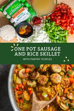 Pot Sausage and Rice Skillet Throw everything in one pot and cook on the stovetop for a delicious homecooked meal in less than 45 minutes! Throw everything in one pot and cook on the stovetop for a delicious homecooked meal in less than 45 minutes! Sausage Recipes, Pork Recipes, Slow Cooker Recipes, Chicken Recipes, Cooking Recipes, Healthy Recipes, Protein Recipes, Rice Recipes, Yummy Recipes
