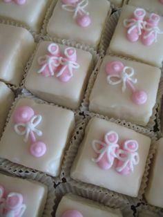 Baby Girl Petit Fours for a baby shower.