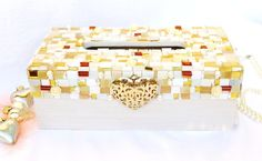 Christmas Gift Tissue Box holder Jewelry covered white by LonasART