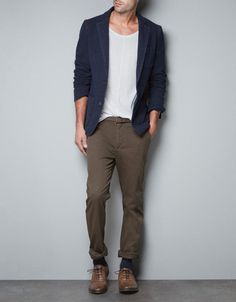 Great men's jacket and trousers. Liking the earthy tones