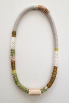 hand-wrapped fiber necklace with hand-built di racheltrobertson