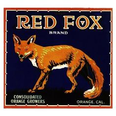 Orange Red Fox Orange Citrus Crate Label Art Print found on Polyvore...