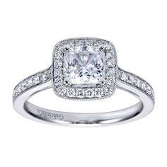GABRIEL AND CO. CUSHION CUT DIAMOND ENGAGEMENT RING WITH HALO $2225.00