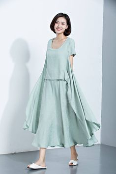 Green Linen Dress,Flare Dress,Long Dress,Printed Dress,Short Sleeve Dress,Casual Dress,Loose Dress,Summer Dress,Women's Dress C1129