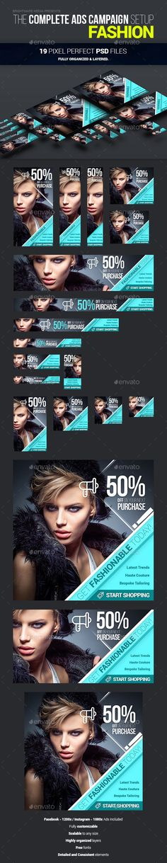 Complete Ads Campaign Setup for Fashion - 19 Banners