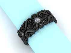 Intricate Baroque Style Wide Band in 14K Black Gold and Diamond on Etsy, $785.00