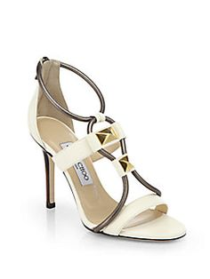 Jimmy Choo - Venus Stone-Detail Leather Sandals Shop at Saks Fifth Avenue at 150 Worth Ave in Palm Beach FL