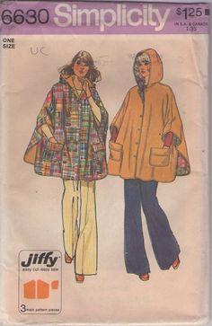 MOMSPatterns Vintage Sewing Patterns - Simplicity 6630 Vintage 70's Sewing Pattern AWESOME Jiffy Oversized Big Flared Tent Coat, Reversible Hooded Rain Poncho